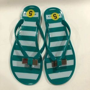 Coach jelly beach flip flops sandals green 5 B